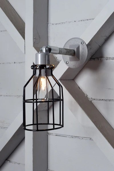 Wall Sconce Lights That Plug In Industrial Wall Light- Outdoor Black Wire Cage Light