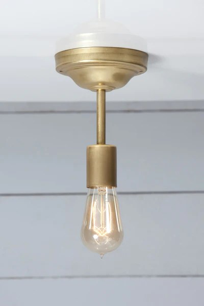 Wall Sconce Lights That Plug In Brass Ceiling Light - Semi Flush Mount | Industrial Light