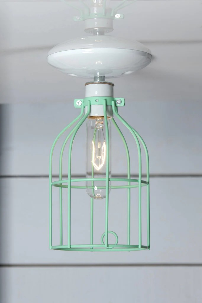 Wall Sconce Lights That Plug In Industrial Lighting - Mint Green Cage Light - Ceiling