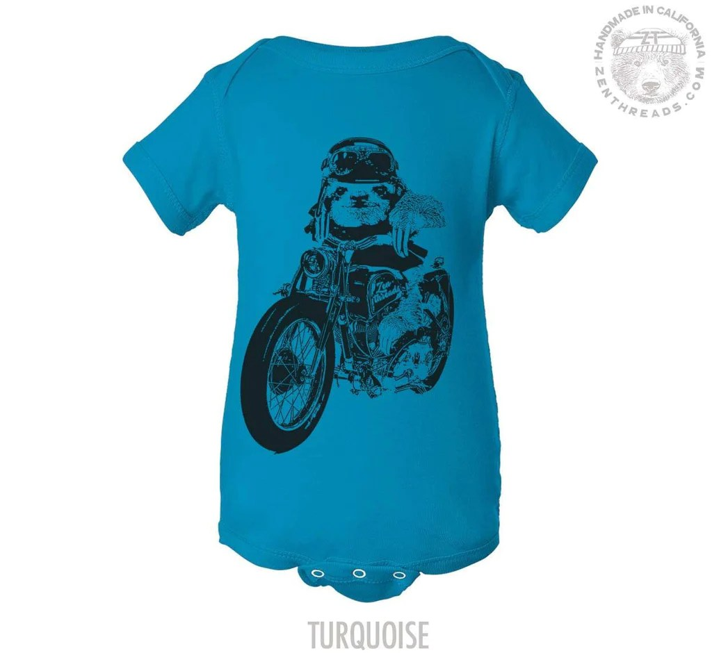 Babyone Baby Jogger Baby One Piece Sloth Moto Motorcycle Bike Zen Threads