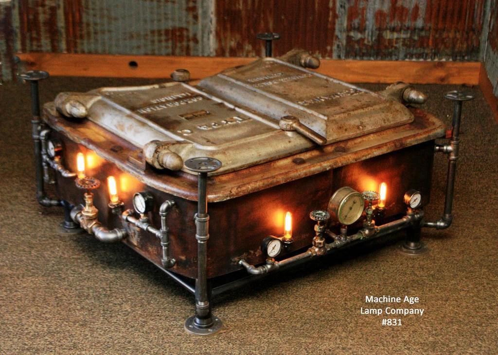Steampunk Industrial Boiler Door Coffee Table or lamp