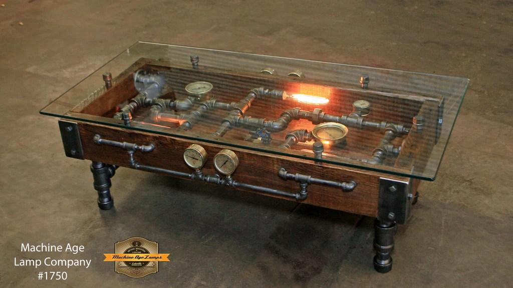 Steampunk Industrial Table / Coffee / Barn Wood / Gauges