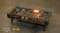 Steampunk Industrial Table / Coffee / Barn Wood / Gauges