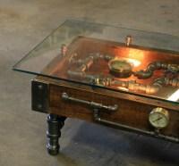 Steampunk Industrial Table / Coffee / Barn Wood / Gauges ...