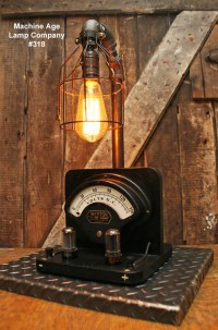 Steampunk Lamp, Power Meter and Tubes #318 - SOLD