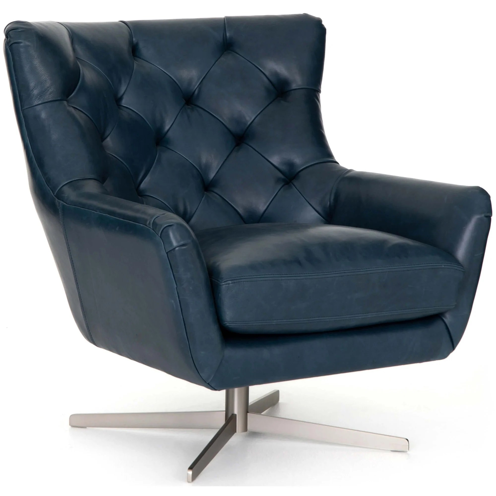 Raymond Leather Swivel Chair Dakota Sapphire High Fashion Home