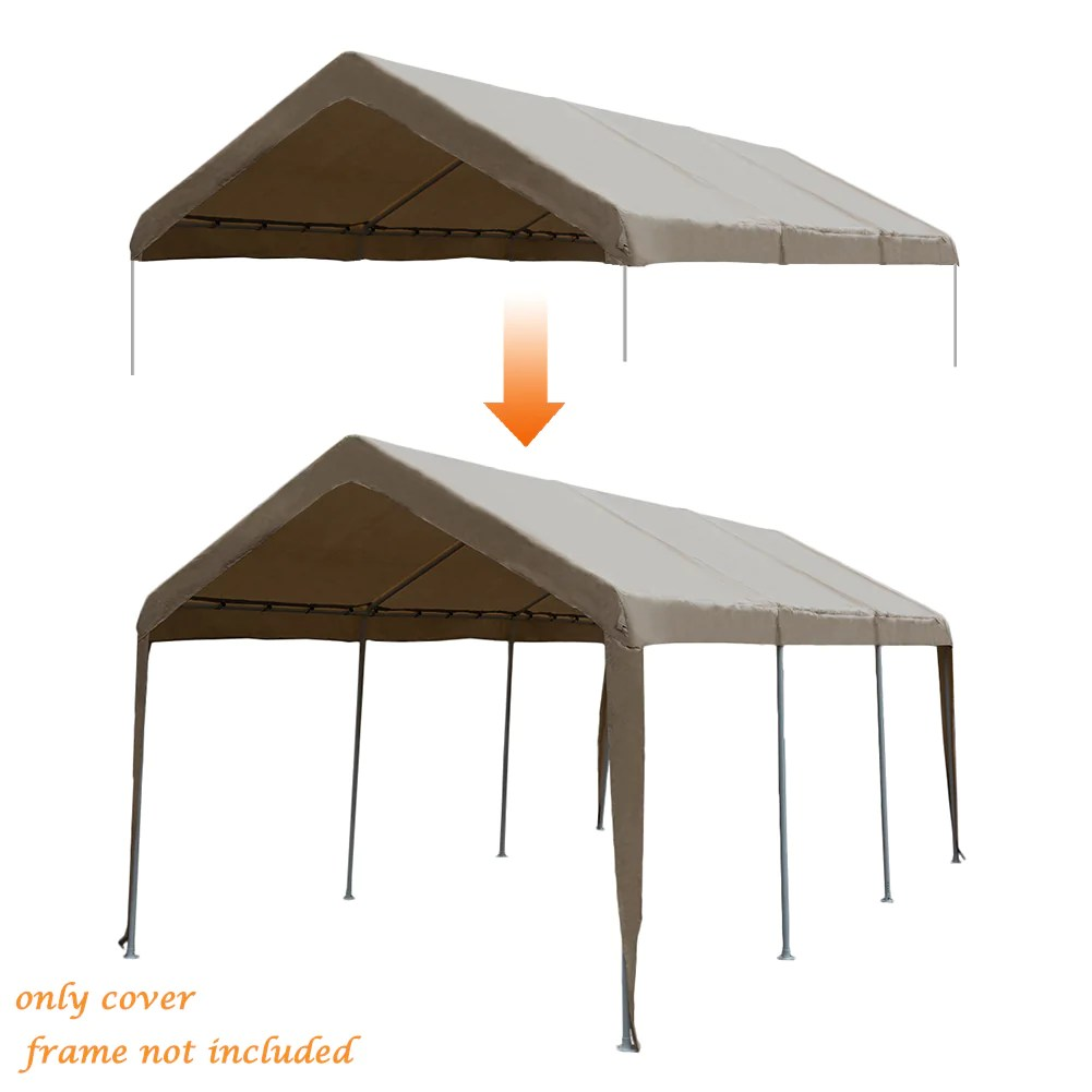 Zeichnung Carport Abba Patio 10 X 20 Feet Carport Replacement Top Canopy Cover For Garage Shelter With Ball Bungees Frame Top Cover Not Included