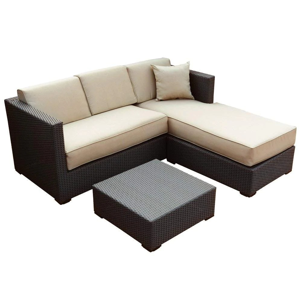 Rattan Sofa Near Me 3 Piece Outdoor Wicker Rattan Garden Sofa And Chaise Lounge Set