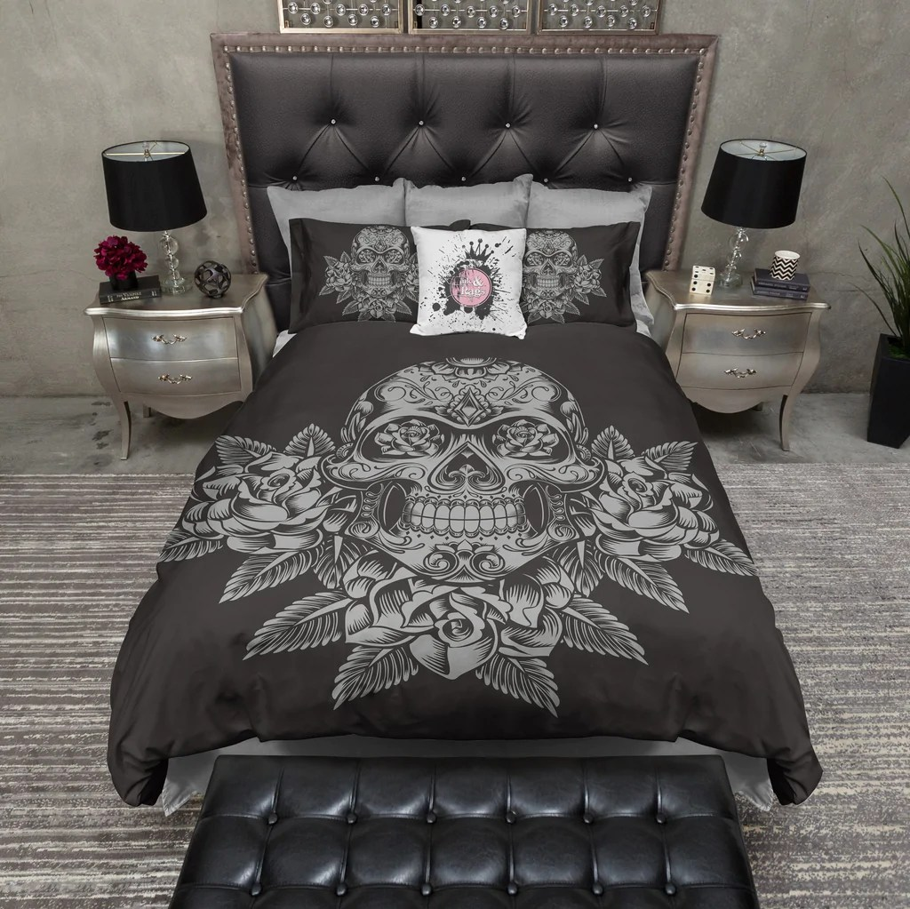 Marilyn Monroe Bettwäsche Grey Skull And Roses On Slate Bedding Ink And Rags
