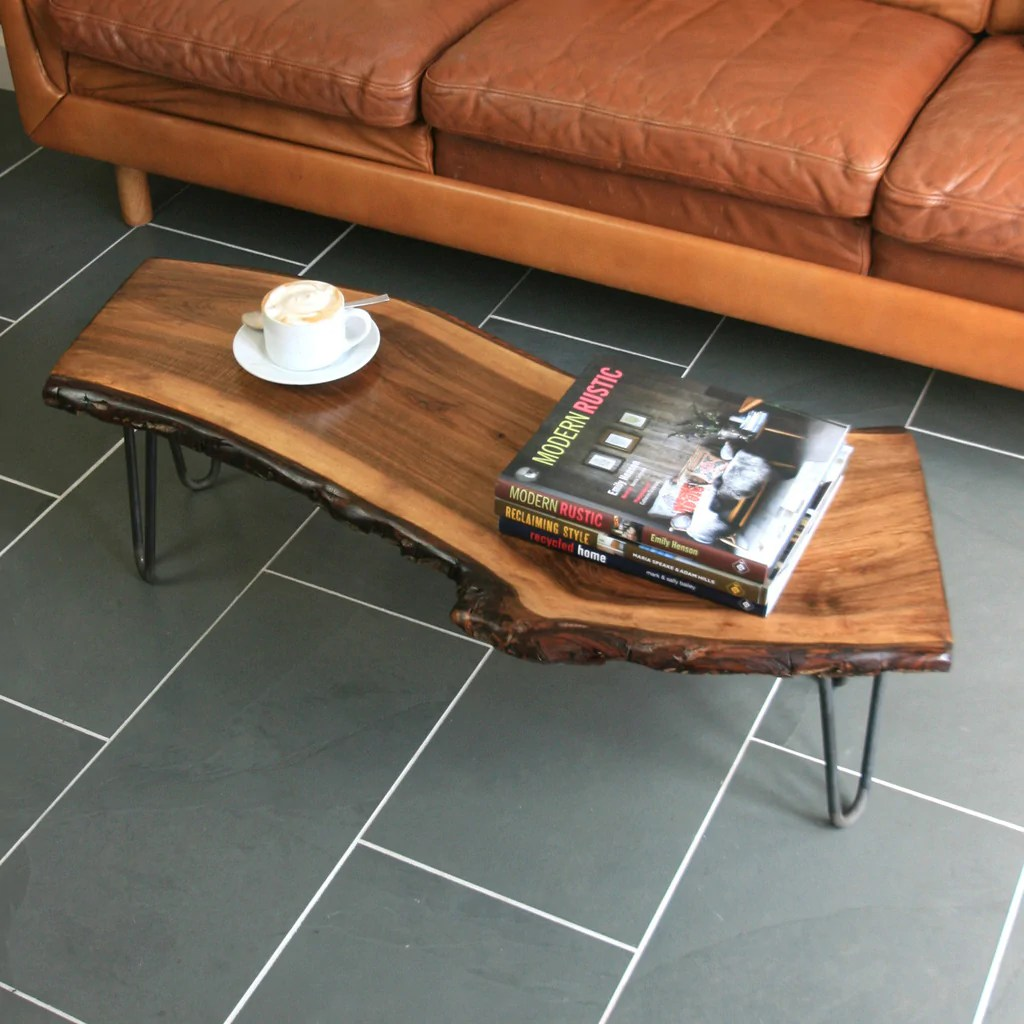 Couchtisch Aus Balken Solid Walnut Hairpin Leg Coffee Table - Mustard Vintage