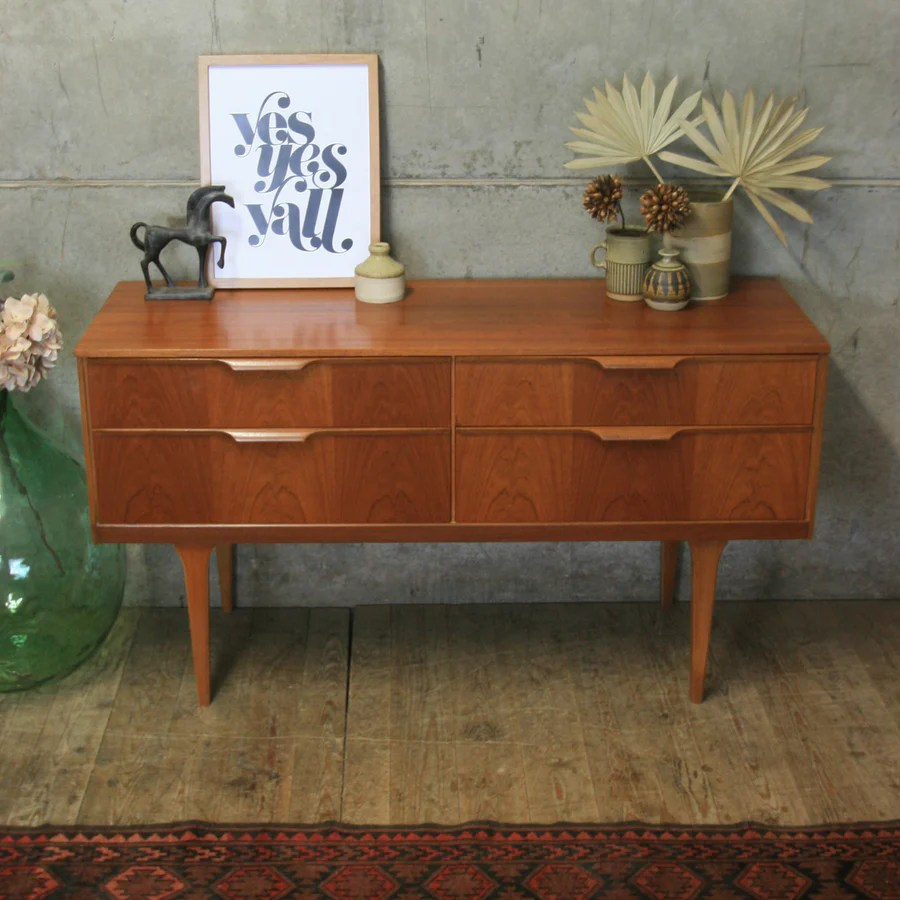 Vintage Sideboard Cornwall Mid Century Teak Chest Of Drawers / Sideboard #0905c