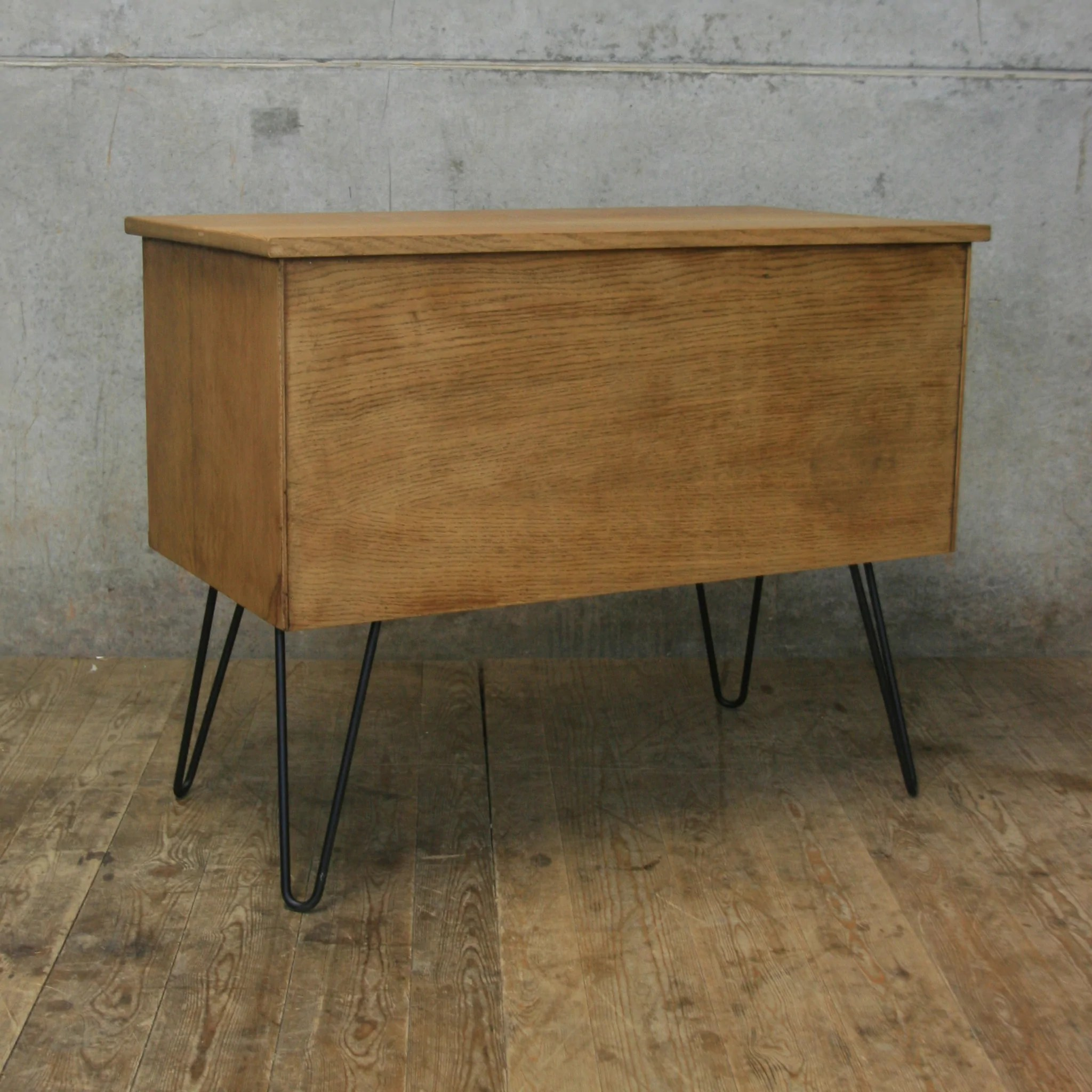 Vintage Sideboard Hairpin Legs Vintage Light Oak Index Drawers Cabinet Drinks Bar 2 Mustard