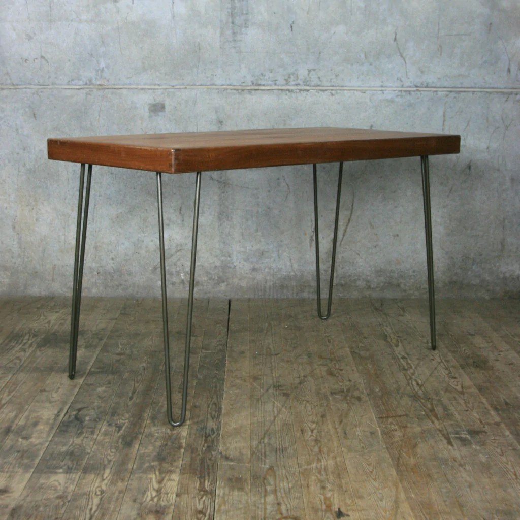 Vintage Sideboard Cornwall Reclaimed School Desk / Table With Hairpin Legs - Mustard