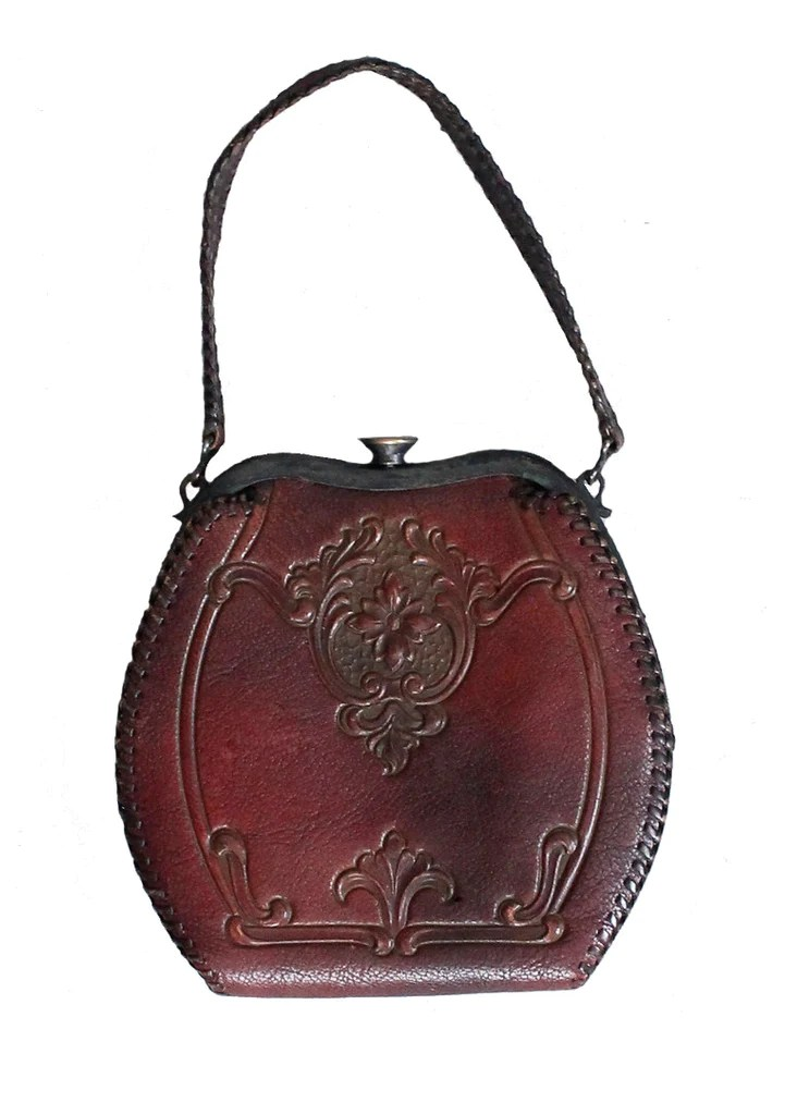 Art Deco Style Jackets Vintage 1930s Art Deco Floral Tooled Leather Purse