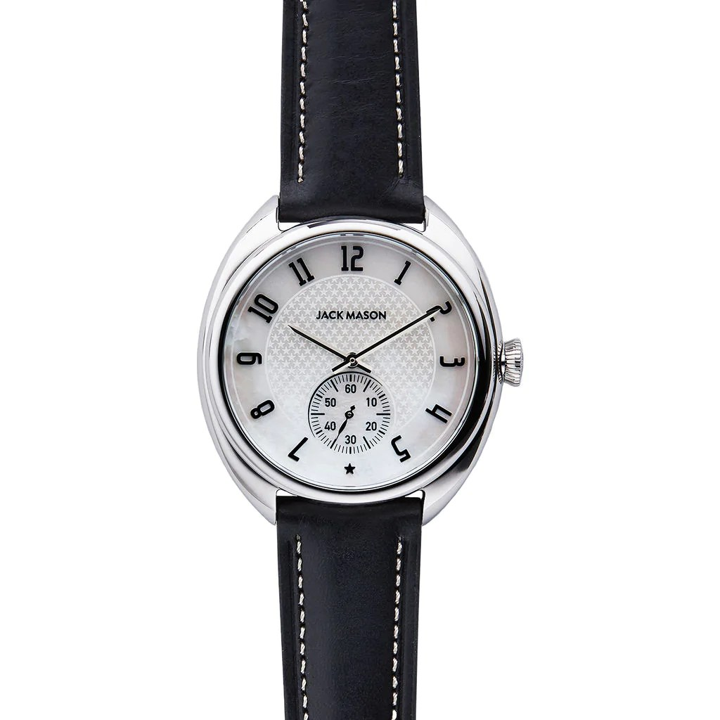 Steel Watch Jack Mason Pearl Issue No 1 Sub Second Stainless Steel Watch Black Leather