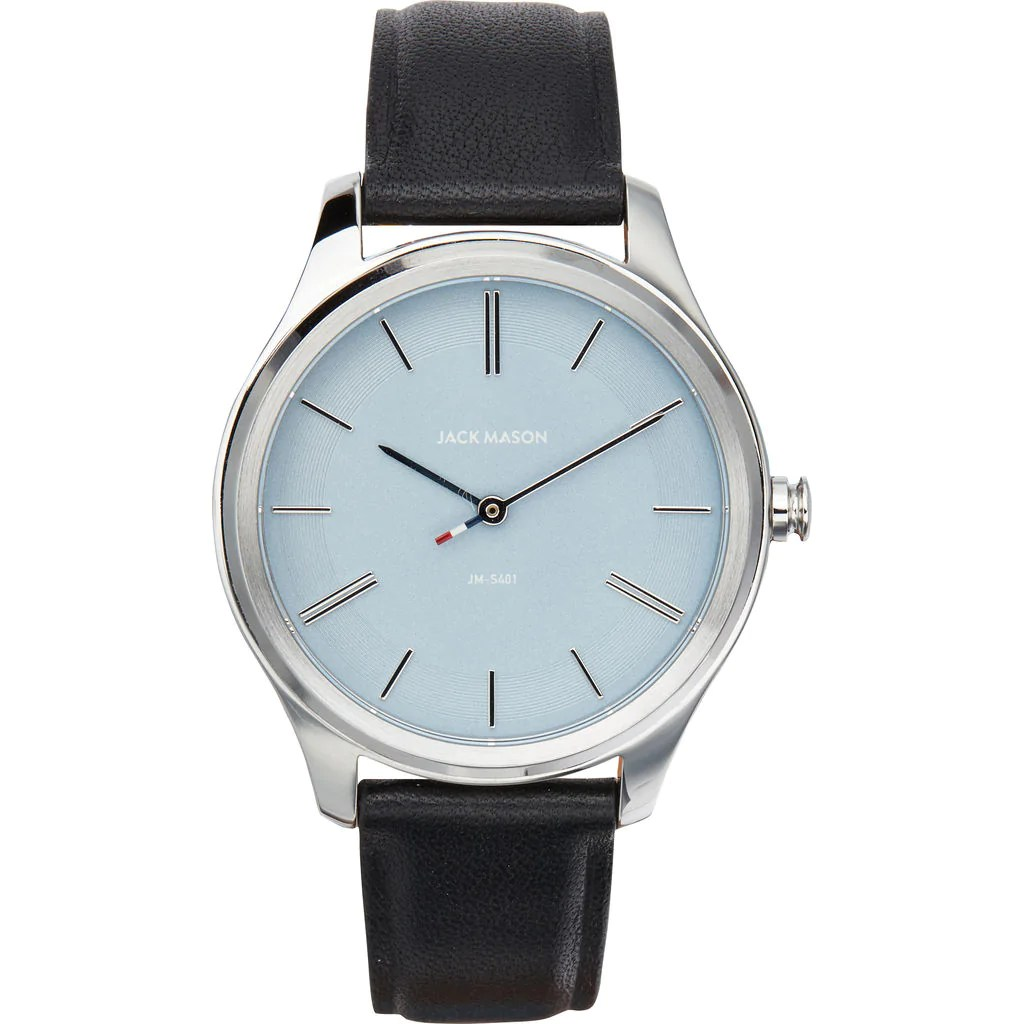 Steel Watch Jack Mason Powder Blue Slim 2 Hand Stainless Steel Watch 38mm Black Leather