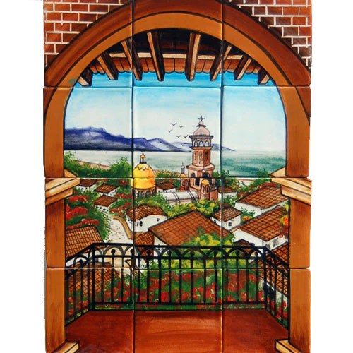 Beautiful Kitchens With Islands Mexican Style Mural - Balcon Vallarta – Mexican Tile Designs