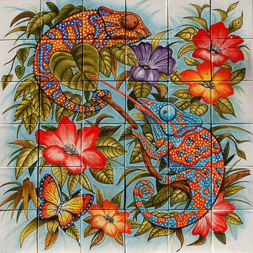 Tile Murals Mexican Style Mural - Camaleones – Mexican Tile Designs