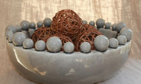Glass Candle Holders Large Grey Ceramic Bowl With Bobbles On Rim