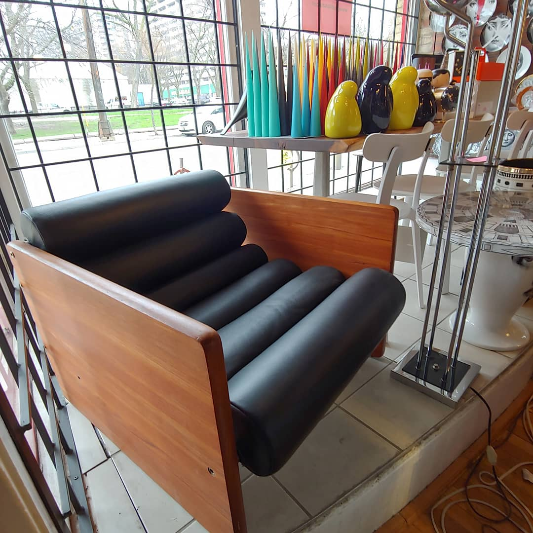 Vintage Midcentury Teak Leather Lounge Chair Studio Pazo