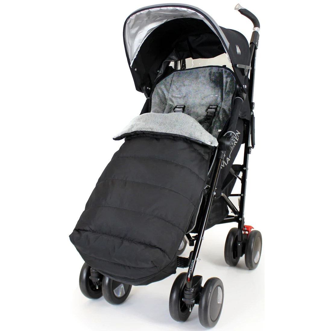 Maclaren Stroller Uk Reviews Xxl Large Luxury Foot Muff And Liner For Maclaren Techno Xt Black Grey