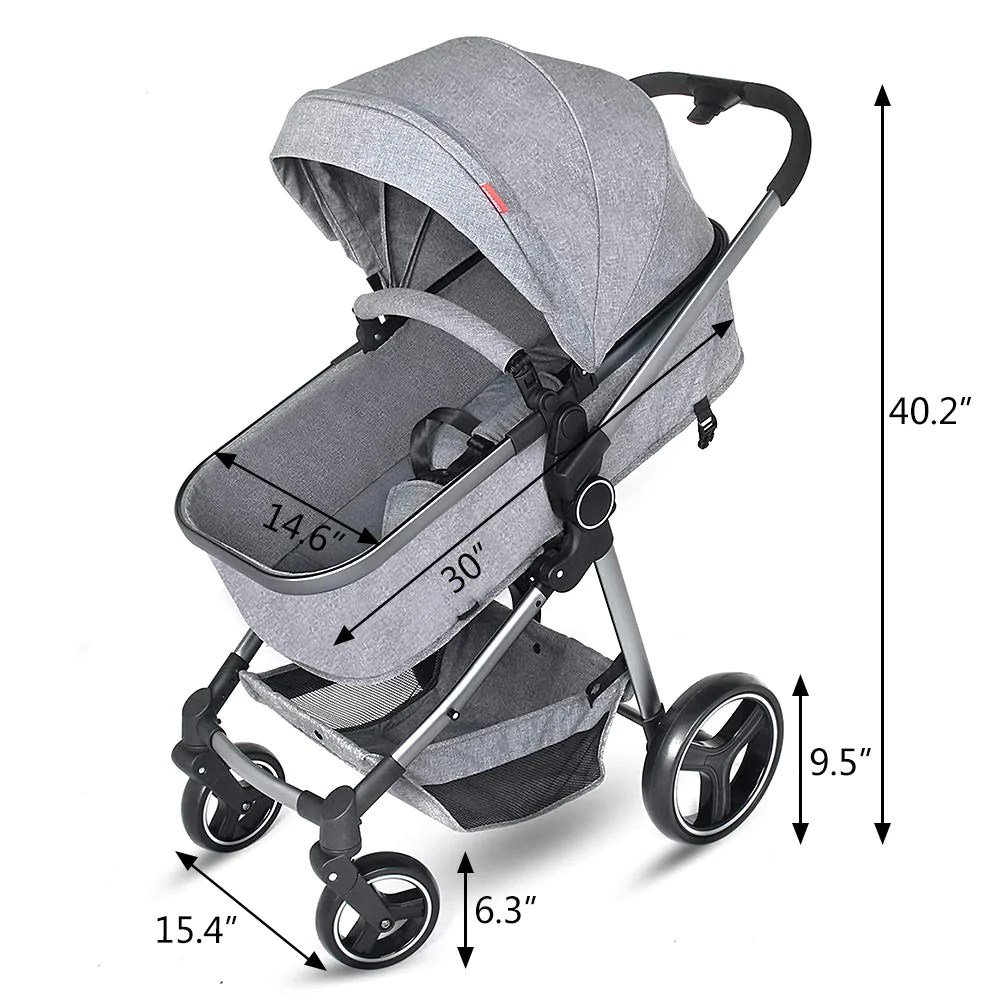Lightweight Folding Pram Grepatio Portable Baby Stroller Lightweight Newborn Baby Pushchair Convertible Bassinet Reclining Stroller With Shock Absorbers Quick Ez One Hand
