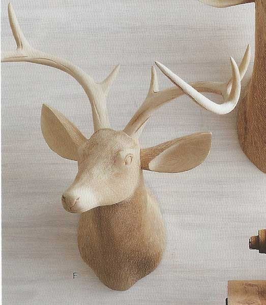 Roost Carved Wood Deer Head Facing Right Deer Head