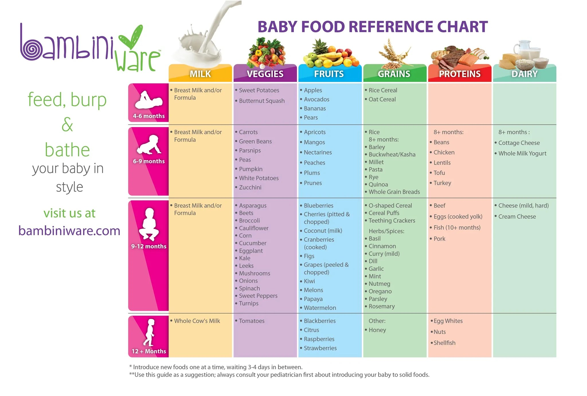 Baby First Foods Chart - Engineering and Technology