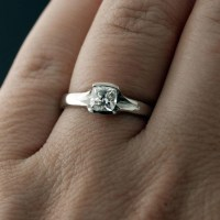 Cushion 0.5 Carat Diamond Half Bezel Fold Solitaire ...
