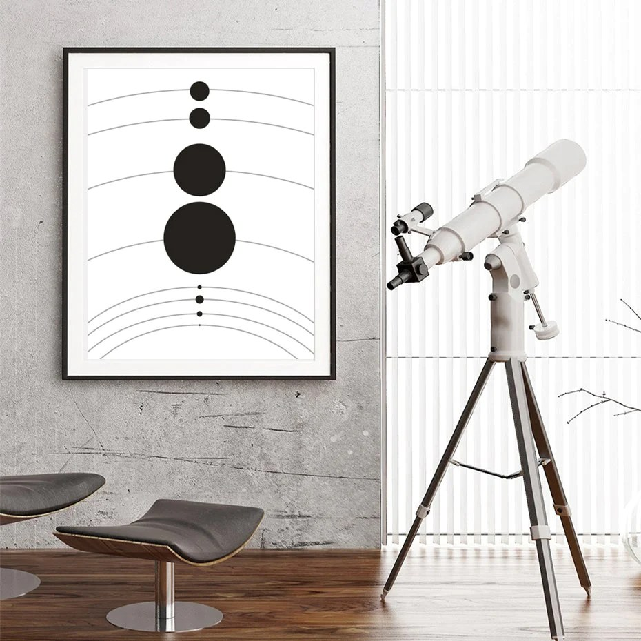 Planets Wall Art Abstract Astronomy Theme Solar System Planets Poster Space Wall Art Canvas Black White Prints For Modern Home Decor