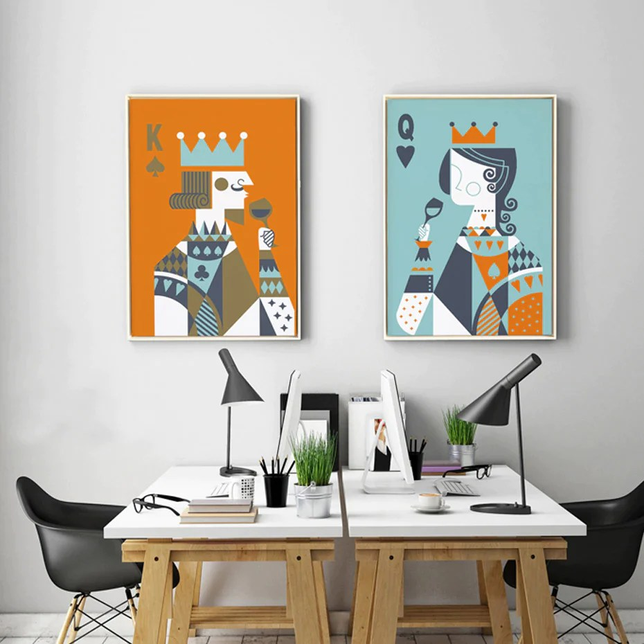 Wall Art Prints And Posters Abstract Poker King And Queen Playing Card Posters Canvas Nordic Modern Wall Art Prints For Modern Living Room Or Bedroom Home Decor