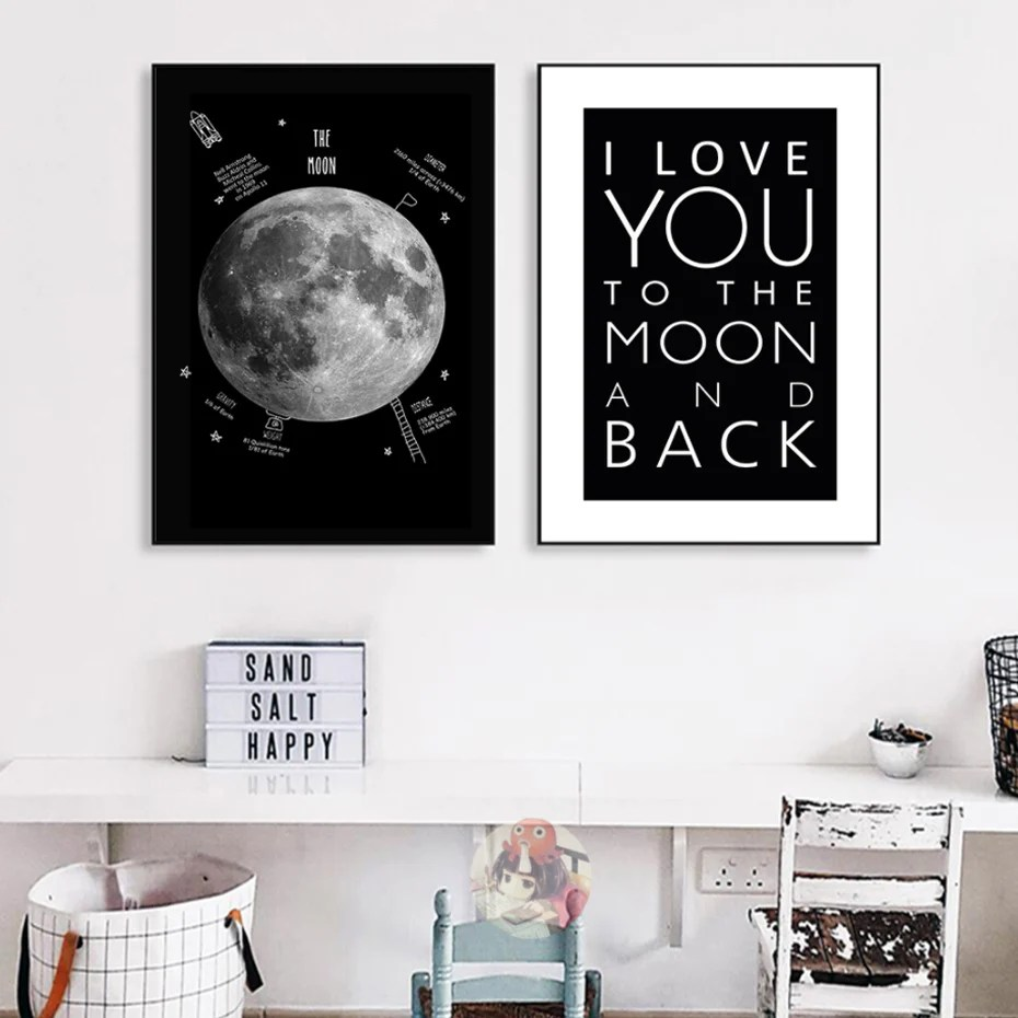 Black And White Artwork For Bedroom I Love You To The Moon And Back Wall Art Posters Modern Black And White Moon Themed Love Art Canvas Prints For Bedroom Modern Home Decor