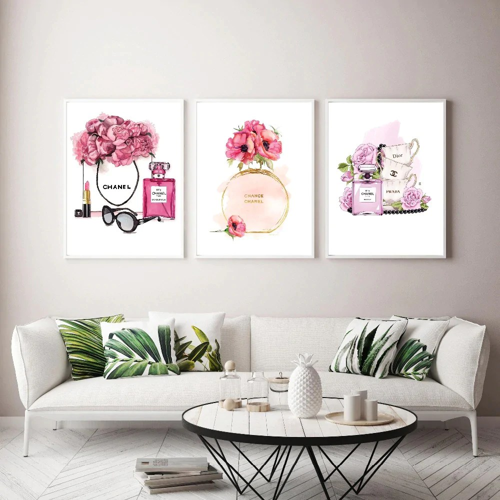 Salon Décoration Modern Fashion Salon Art Home Inspired By Coco Chanel Perfume Fine Art Canvas Prints For Girls Bedroom Living Room Modern Home Decoration