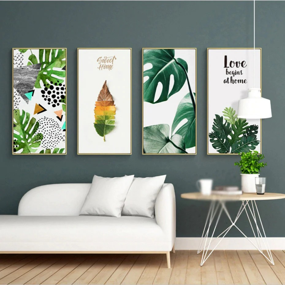 Wall Art Prints And Posters Nordic Tropical Wall Art Green Leaves Colorful Simple Abstract Nature Palm Posters Fine Art Prints For Modern Living Room Home Decor