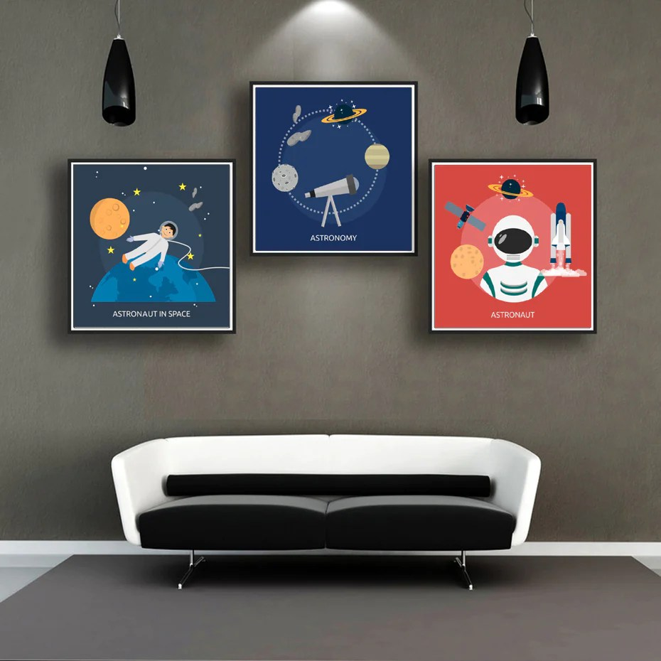 Planets Wall Art Space Journey Astronaut Astronomy Themed Wall Art Posters For Boys Kids Room Planet And Stars Canvas Paintings Modern Home Decor