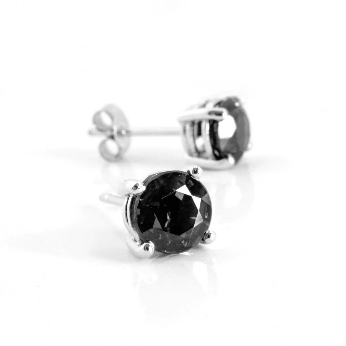 Black Diamond 1 00ct One Carat Black Diamond Studs In Sterling Silver 23 27ct Total Weight