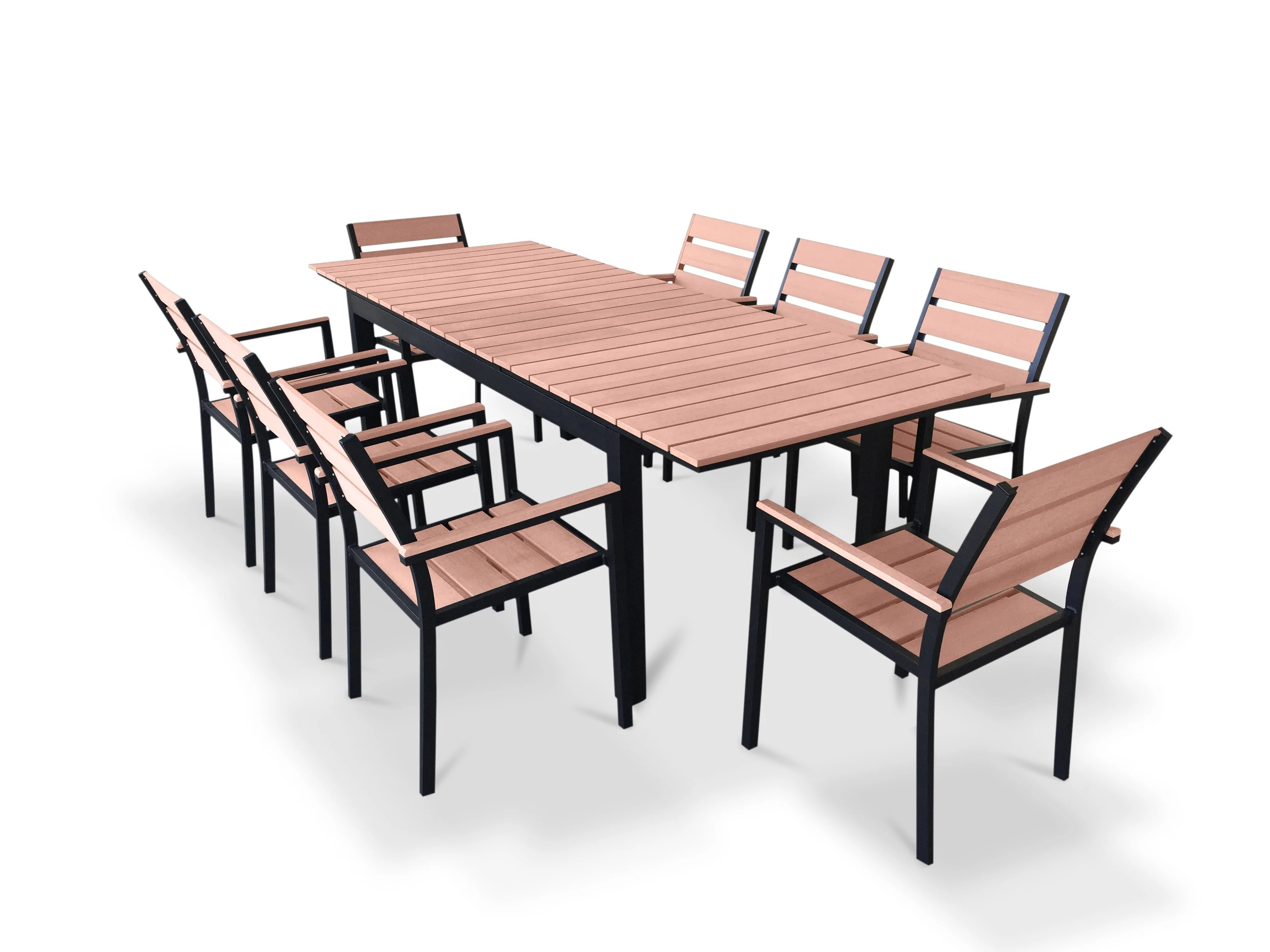 9 Piece Outdoor Dining Set 9 Piece Eco Wood Extendable Outdoor Patio Dining Set Weathered