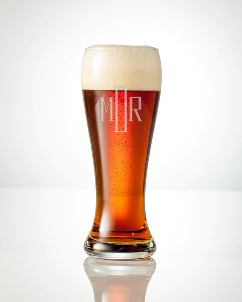 monogrammed tall beer glass