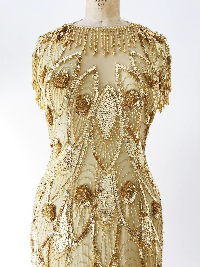 Gold S 1980s Gold Silk Beaded Dress S