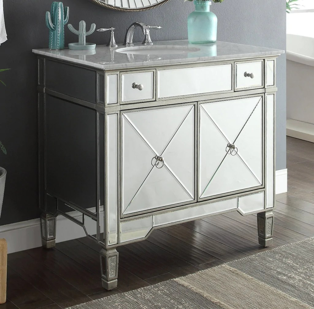 Mirrored Bathroom Vanity With Sink 36 Quot Carrara Marble Mirror Reflection Ashlyn Bathroom Sink
