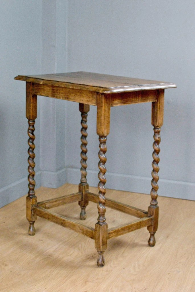 Solid Oak Side Table Occasional Table On Turned