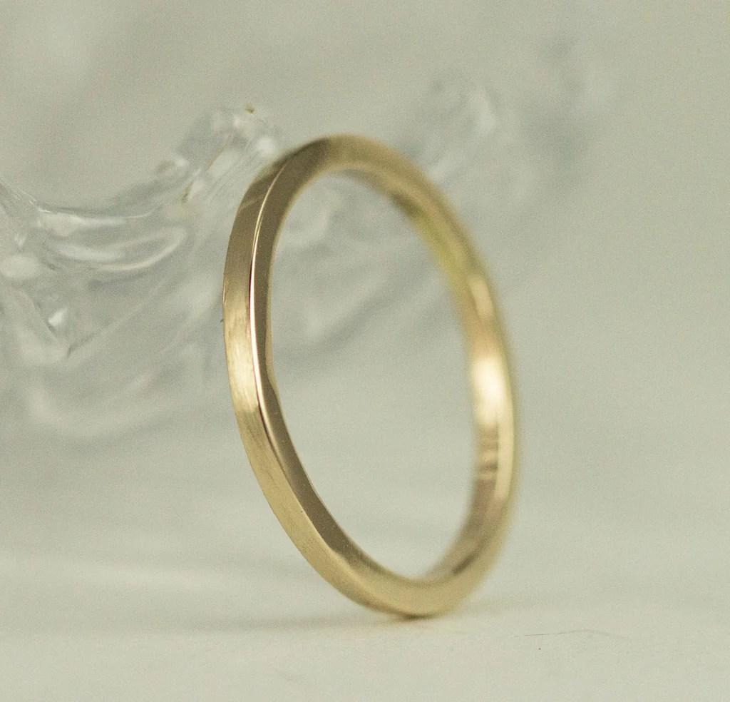 solid 14k or 18k gold wedding bands square band 1 5mm or 2mm wide 14k rose and 14k white gold 14k gold wedding band Solid 14k Gold Wedding Band