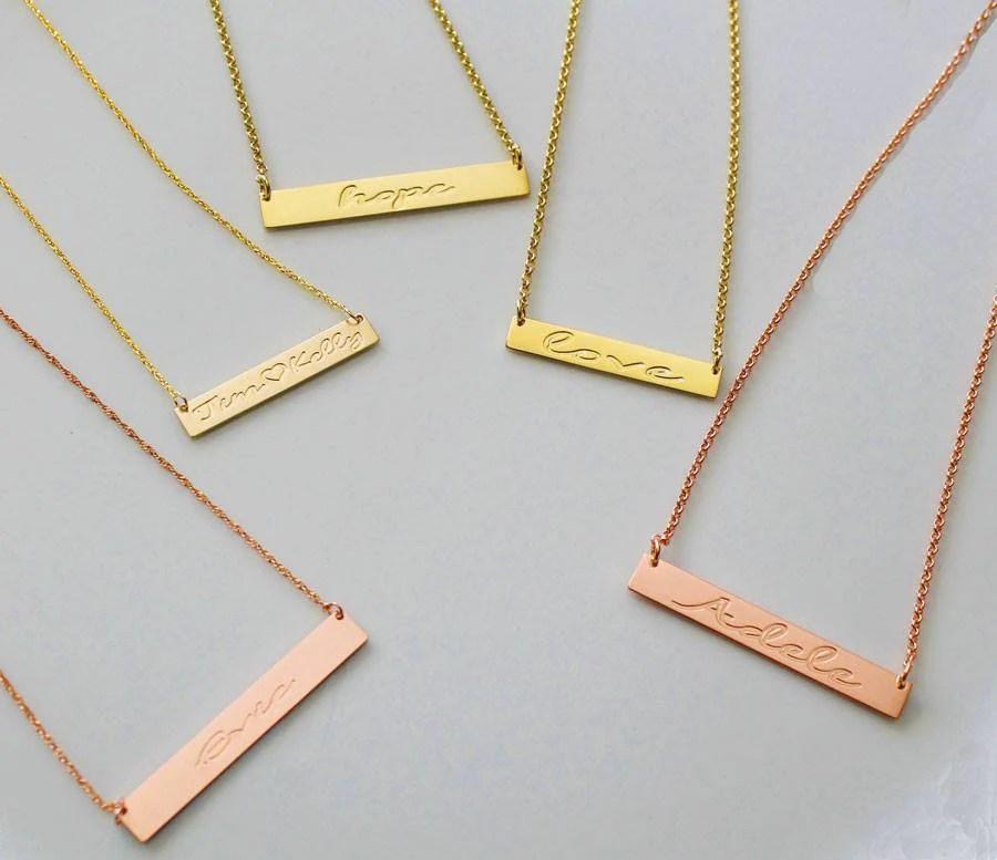engraved gold bar necklace kardashians meghan markle