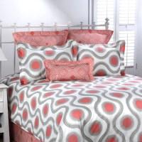 Coral and Gray Dorm Comforter   Designer Dorm Bedding ...