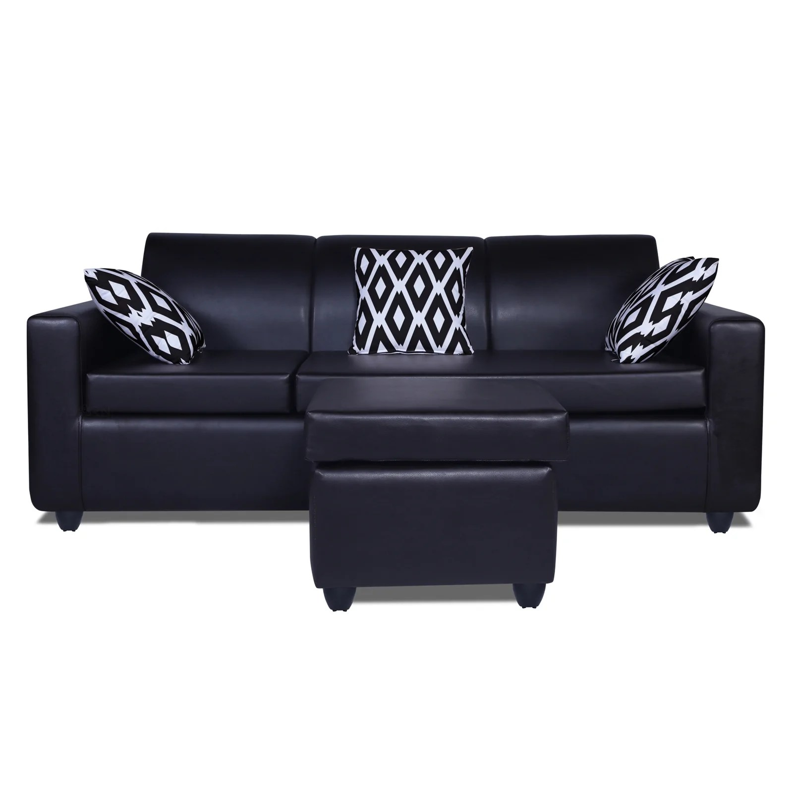 Premium Quality Monteno Leatherette Modular Sofa Set Black Adorn India