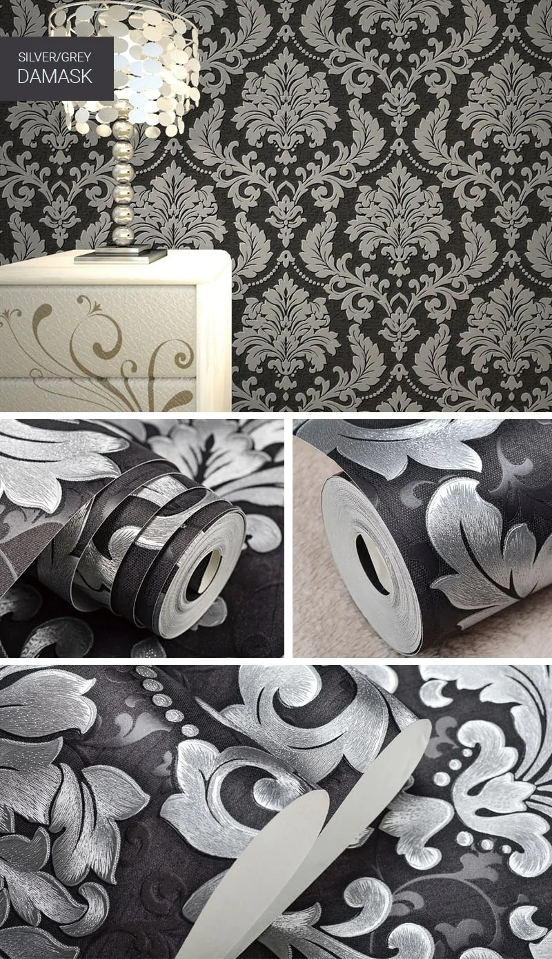 Silver Grey Metallic Damask Wallpaper Embossed Vinyl Wall Coverings Re House Boutique