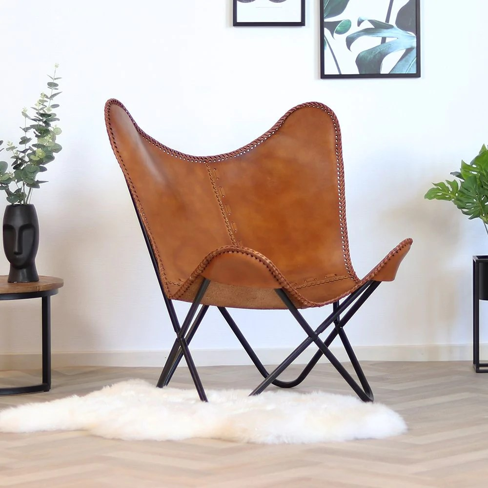 Butterfly Chair Leder Cognac Industrial Design Furnpact
