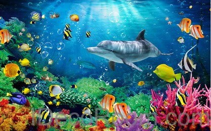 Animal Print Wallpaper For Bedrooms Dophin Coral Colorful Fish Under The Sea 00008 Floor