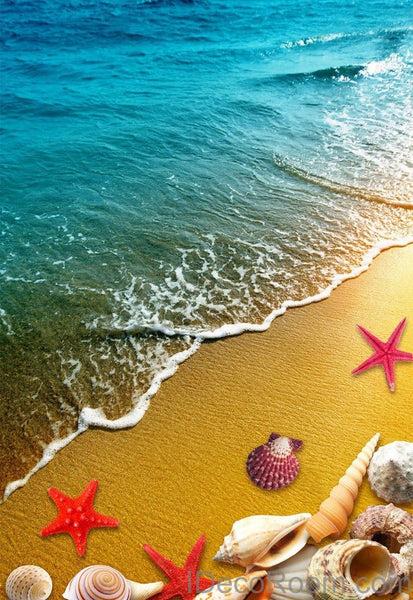 Free 3d Dolphin Wallpaper Beach Sand Star Fish Shells 00013 Floor Decals 3d
