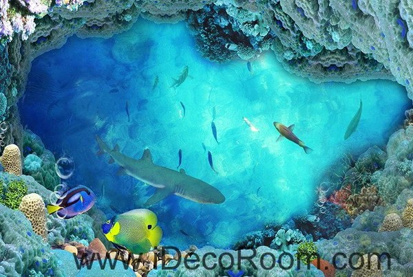 3d Wallpaper Murals Uk Shark Under The Sea Coral 00018 Floor Decals 3d Wallpaper